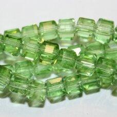 jssw0023gel-kub1-04x4 apie 4 x 4 mm, kubo forma, skaidrus, šviesi, žalia spalva, stikliniai / kristalo karoliukai, apie 100 vnt.