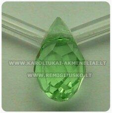 jssw0023gel-las-12x6 apie 12 x 6 mm, lašo forma, skaidrus, šviesi, žalia spalva, apie 100 vnt.