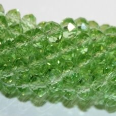jssw0023gel-ron-08x10 apie 8 x 10 mm, rondelės forma, skaidrus, šviesi, žalia spalva, apie 72 vnt.