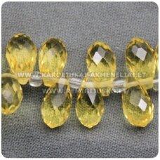 JSSW0023K-LAS-11.5x6.5 apie 11.5 x 6.5 mm, lašo forma, briaunuotas, skaidrus, geltona spalva, apie 100 vnt.