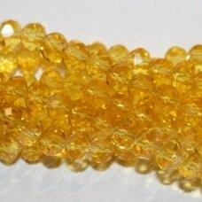 jssw0023k-ron-08x12 apie 8 x 12 mm, rondelės forma, skaidrus, geltona spalva, stikliniai / kristalo karoliukai, apie 72 vnt.
