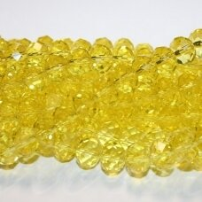 jssw0023k-ron-09x12 apie 9x12 mm, rondelės forma, briaunuotas, šviesi, geltona spalva, stikliniai / kristalo karoliukai, apie 70 vnt.