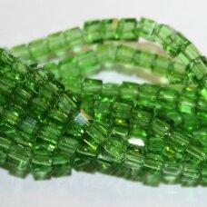 jssw0024gel-kub1-04x4 apie 4 x 4 mm, kubo forma, skaidrus, žalia spalva, stikliniai / kristalo karoliukai, apie 100 vnt.