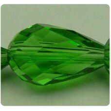 jssw0024gel-las-04.5x3.5 apie 4.5 x 3.5 mm, lašo forma, briaunuotas, žalia spalva, stikliniai / kristalo karoliukai, apie 100 vnt.