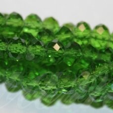 jssw0024gel-ron-04x6 apie 4 x 6 mm, rondelės forma, šviesi, žalia spalva, stikliniai / kristalo karoliukai, apie 100 vnt.