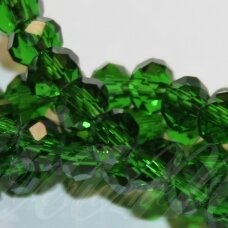 jssw0025gel-ron-09x12 apie 9 x 12 mm, rondelės forma, skaidrus, žalia spalva, apie 72 vnt.