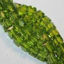 jssw0026gel-kub1-06x6 apie 6 x 6 mm, kubo forma, skaidrus, samaninė spalva, stikliniai / kristalo karoliukai, apie 100 vnt.