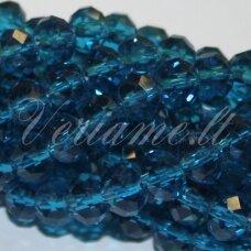 jssw0026k-ron-03x4 apie 3 x 4 mm, rondelės forma, skaidrus, mėlyna spalva, apie 150 vnt.