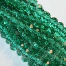 jssw0027gel-ron-06x8 apie 6 x 8 mm, rondelės forma, skaidrus, žalia spalva, apie 72 vnt.