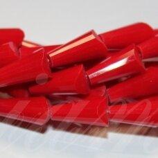 jssw0033gel-kug-12x6 apie 12 x 6 mm, kūgio forma, briaunuotas, raudona spalva, stikliniai / kristalo karoliukai, apie 50 vnt.