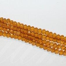 jssw0006k-ron-03x4 apie 3 x 4 mm, rondelės forma, šviesi, ruda spalva, briaunuotas, apie 150 vnt.
