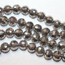 JSSW0046GEL-APV2-06 apie 6 mm, rondelės forma, briaunuotas, sidabro spalva, apie 100 vnt.