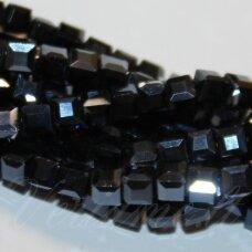 jssw0049gel-kub1-06x6 apie 6 x 6 mm, kubo forma, hematito spalva, stikliniai / kristalo karoliukai, apie 100 vnt.
