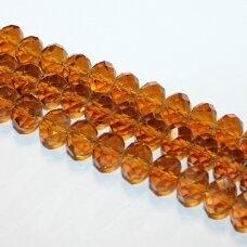jssw0006k-ron-08x10 apie 8 x 10 mm, rondelės forma, briaunuotas, šviesi, ruda spalva, apie 72 vnt.