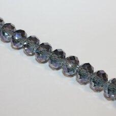 jssw0054gel-ron-04x6 apie 4 x 6 mm, rondelės forma, pilkai melsva spalva, stikliniai / kristalo karoliukai, apie 100 vnt.