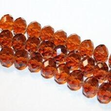 jssw0007k-ron-09x12 apie 9 x 12 mm, rondelės forma, briaunuotas, ruda spalva, apie 72 vnt.