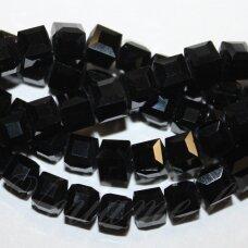 jssw0073gel-kub1-07x7 apie 7 x 7 mm, kubo forma, juoda spalva, stikliniai / kristalo karoliukai, apie 100 vnt.