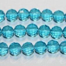 JSSW0075-APV2-06 apie 6 mm, apvali forma, briaunuotas, skaidrus, žydra spalva, apie 100 vnt.