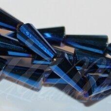 jssw0079gel-kug-08x4 apie 8 x 4 mm, kūgio forma, briaunuotas, karališko mėlynumo spalva, stikliniai / kristalo karoliukai, apie 72 vnt.