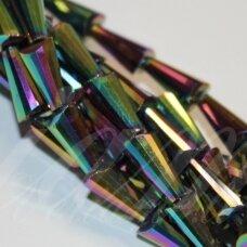 jssw0082gel-kug-12x6 apie 12 x 6 mm, kūgio forma, briaunuotas, marga, stikliniai / kristalo karoliukai, apie 50 vnt.