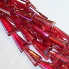 jssw0144-kug-12x6 about 12 x 6 mm, taper shape, faceted, red color, ab cover, about 50 pcs.