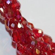 jssw0144-las-04.5x3.5 apie 4.5 x 3.5 mm, lašo forma, briaunuotas, skaidrus, raudona spalva, ab danga, stikliniai / kristalo karoliukai, apie 100 vnt.