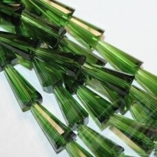 jssw0149-kug-08x4 about 8 x 4 mm, taper shape, faceted, transparent, green color, about 72 pcs.
