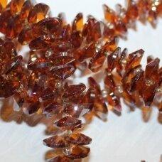 jssw0164-disk1-04x8 apie 4 x 8 mm, disko forma, briaunuotas, skaidrus, ruda spalva, stikliniai / kristalo karoliukai, apie 150 vnt.