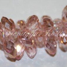 JSSW0170-LAS-06x12 apie 6 x 12 mm, lašo forma, skaidrus, rožinė spalva, AB danga, apie 100 vnt.