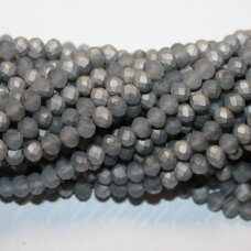jssw0191gel-ron-02x3 apie 2 x 3 mm, rondelės forma, matinė, pilka spalva, sidabrinė danga, apie 200 vnt.