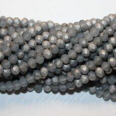 jssw0191gel-ron-03x4 apie 3 x 4 mm, rondelės forma, matinė, pilka spalva, sidabrinė danga, apie 150 vnt.