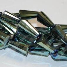 jssw0220-kug-08x4 apie 8 x 4 mm, kūgio forma, briaunuotas, žalsvai mėlyna spalva, stikliniai / kristalo karoliukai, apie 72 vnt.