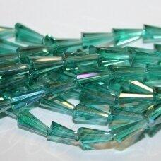 jssw0241k-kug-12x6 apie 12 x 6 mm, kūgio forma, briaunuotas, skaidrus, elektrinė spalva, ab danga, stikliniai / kristalo karoliukai, apie 50 vnt.