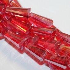 jssw0245-kug-12x6 apie 12 x 6 mm, kūgio forma, briaunuotas, skaidrus, raudona spalva, ab danga, stikliniai / kristalo karoliukai, apie 50 vnt.