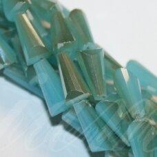 jssw0281-kug-12x6 apie 12 x 6 mm, kūgio forma, briaunuotas, melsva spalva, blizgi danga, stikliniai / kristalo karoliukai, apie 50 vnt.
