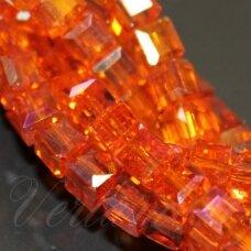 jssw0297-kub1-06x6 apie 6 x 6 mm, kubo forma, skaidrus, oranžinė spalva, ab danga, stikliniai / kristalo karoliukai, apie 100 vnt.