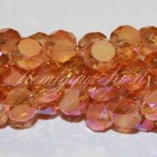 jssw0298-disk-mat-06x4 apie 6 x 4 mm, disko forma, skaidrus, šviesi, oranžinė spalva, ab danga, apie 100 vnt.