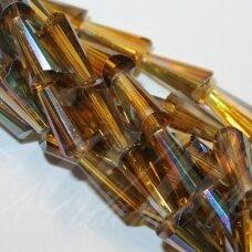 jssw0414-kug-12x6 apie 12 x 6 mm, kūgio forma, briaunuotas, skaidrus, gelsva spalva, blizgi danga, stikliniai / kristalo karoliukai, apie 50 vnt.