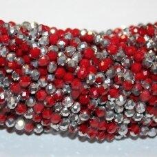 jssw0483-ron-04x6 apie 4 x 6 mm, rondelės forma, raudona spalva, sidabrinė spalva, apie 100 vnt.