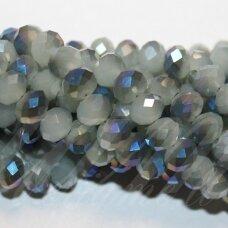 jssw0494-ron-06x8 apie 6 x 8 mm, rondelės forma, pilka spalva, žalsva spalva, ab danga, apie 72 vnt.
