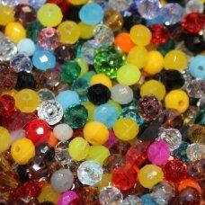 JSSWMIX-RON-06x8 apie 6 x 8 mm, rondelės forma, įvairių spalvų miksas, apie 72 vnt.