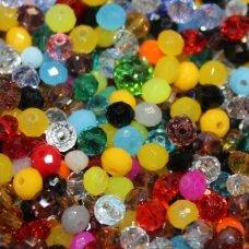 JSSWMIX-RON-08x10 apie 8 x 10 mm, rondelės forma, įvairių spalvų miksas, apie 50 vnt.