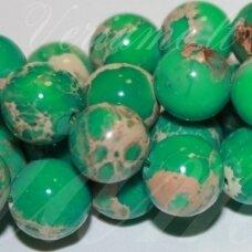 JSVAR4-APV-10 apie 10 mm, apvali forma, žalia spalva, variscitas, apie 38 vnt.
