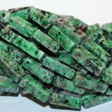 JSZSR-STAC-13x4x4 apie 13 x 4 x 4 mm, stačiakampio forma, zoisitas su rubinu, apie 28 vnt.