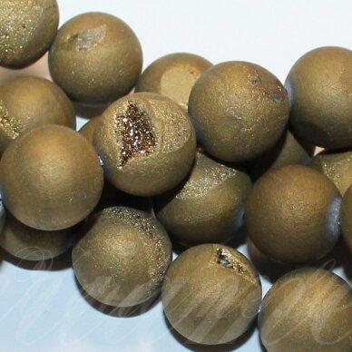 JSAGDR0002-APV-08 apie 8 mm, apvali forma, auksinė spalva, agatas (druzy), apie 48 vnt.