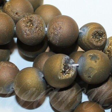 jsagdr0003-apv-08 apie 8 mm, apvali forma, tamsi, auksinė spalva, agatas (druzy), apie 48 vnt.