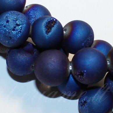 jsagdr0004-apv-14 apie 14 mm, apvali forma, ryški, mėlyna spalva, agatas (druzy), apie 28 vnt.