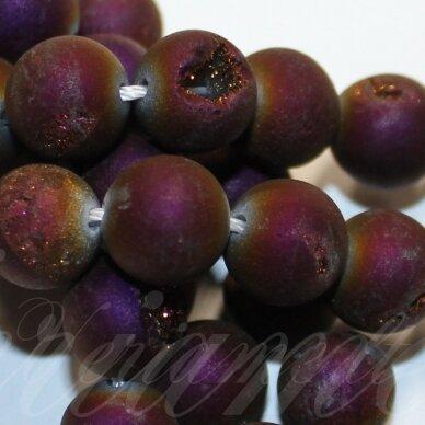 jsagdr0011-apv-10 apie 10 mm, apvali forma, violetinė spalva, agatas (druzy), apie 37 vnt.