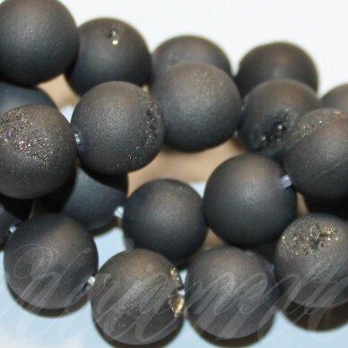 jsagdr0015-apv-06 apie 6 mm, apvali forma, tamsi, pilka spalva, agatas (druzy), apie 65 vnt.
