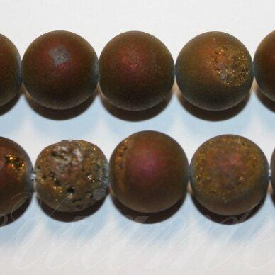 jsagdr0021-apv-16 apie 16 mm, apvali forma, marga, violetinė spalva, agatas (druzy), apie 25 vnt.